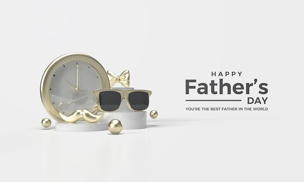 Rendu 3d de la fête des pères avec horloge en or et élégantes lunettes en or