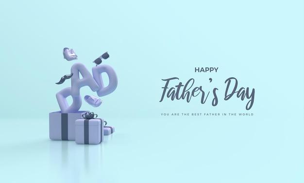 Rendu 3d de fête des pères avec illustration de boîte cadeau ouverte
