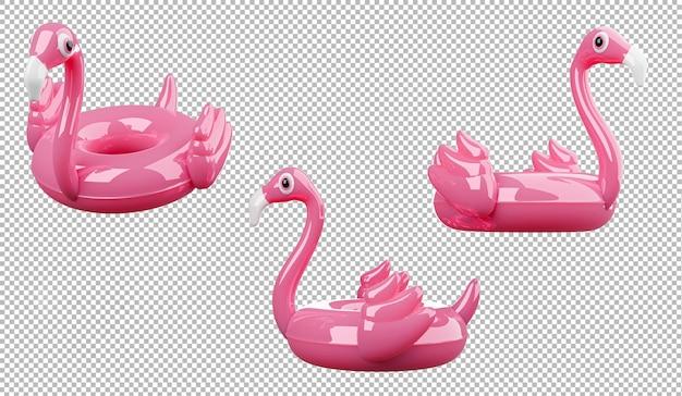 Rendu 3d de flamant rose gonflable sur fond transparent, un tracé de détourage