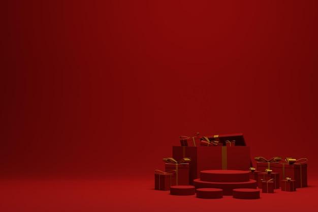 Rendu 3d fond de scène de podium de noël rouge moderne pour la publicité des produits