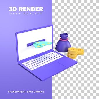 Rendu 3d gagner de l'argent concept par internet.