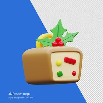 Rendu 3d de gâteau aux fruits pour l'icône de vacances de noël isolé.