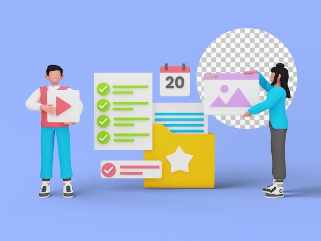 Rendu 3d de la gestion de documents en ligne