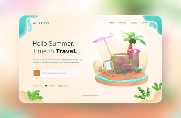 Rendu 3d, hello summer, modèle de site web, avec illustration cocotier et plage parapluie