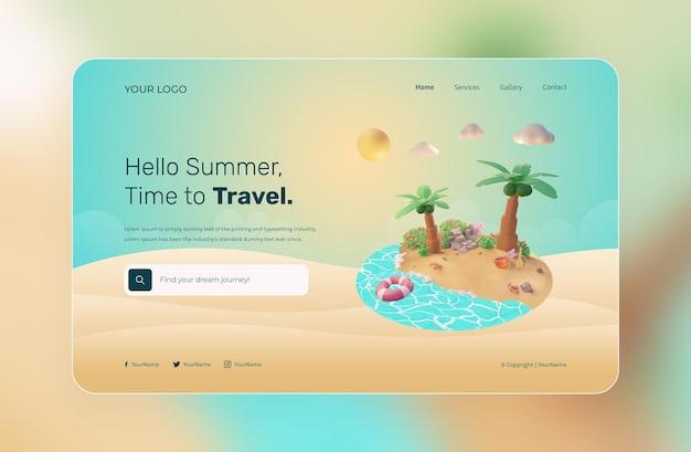 Rendu 3d, hello summer, modèle de site web, avec illustration de plage