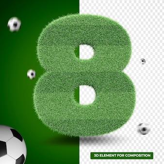 Rendu 3d de huit dans l'herbe pour la composition sportive