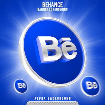 Rendu 3d de l'icône behance