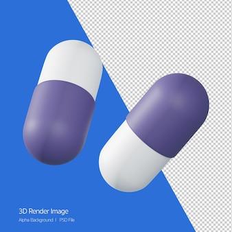 Rendu 3d de l'icône de capsule de médecine isolé sur blanc.