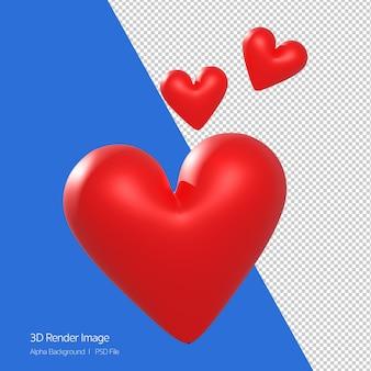 Rendu 3d de l'icône coeur rouge isolé sur blanc.