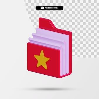 Rendu 3d de l'icône de document minimal isolé