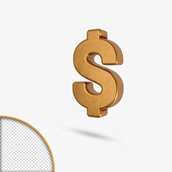 Rendu 3d de l'icône dollar lettre brillant métallique doré