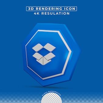 Rendu 3d de l'icône dropbox