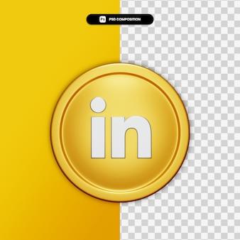 Le rendu 3d icône linkedin sur cercle doré isolé