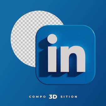 Rendu 3d de l'icône linkedin