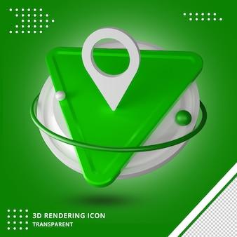 Rendu 3d de l'icône de localisation des médias sociaux