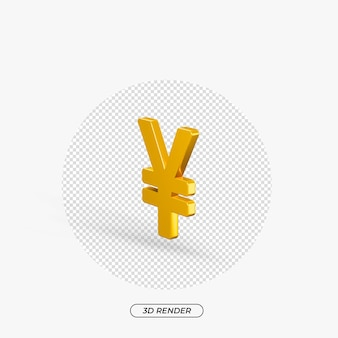 Rendu 3d d'icône or yen