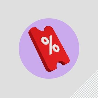 Rendu 3d de l'icône de remise shopping