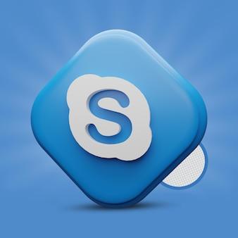 Rendu 3d de l'icône skype