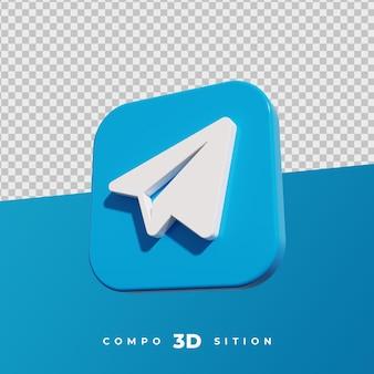 Rendu 3d de l'icône de télégramme
