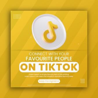Rendu 3d icône tiktok promotion commerciale pour le modèle de conception de publication sur les médias sociaux