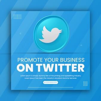 Rendu 3d icône twitter promotion commerciale pour le modèle de conception de publication sur les médias sociaux