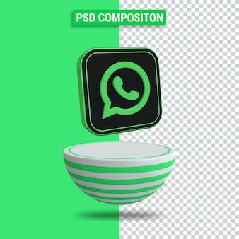 Rendu 3d de l'icône whatsapp avec podium à rayures vertes