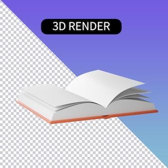 Rendu 3d icônes isolées sur la lecture de livres