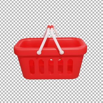 Rendu 3d de l'illustration de la conception du panier d'achat