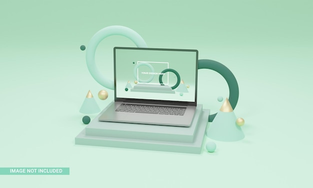 Rendu 3d illustration fond formes ordinateur portable maquette isométrique