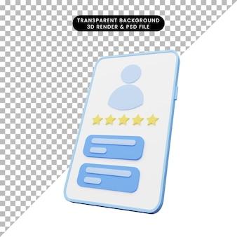 Rendu 3d de l'illustration de l'interface utilisateur sur smartphone