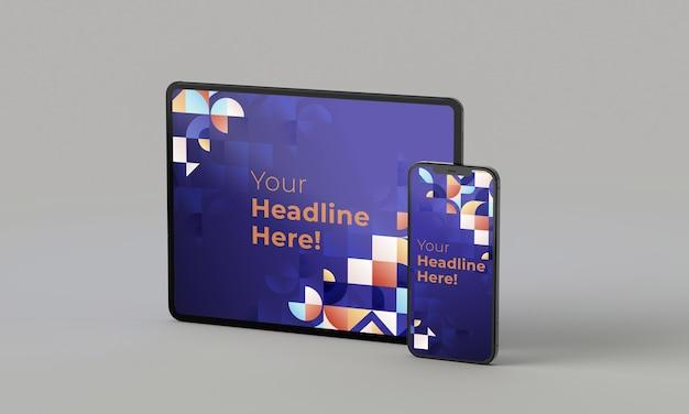 Rendu 3d illustration téléphone générique maquette et tablette dans un design blanc high key iphone ipad