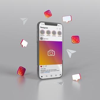 Rendu 3d instagram pour la maquette de publication sur les réseaux sociaux