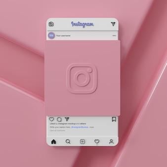 Rendu 3d de l'interface de maquette de médias sociaux instagram