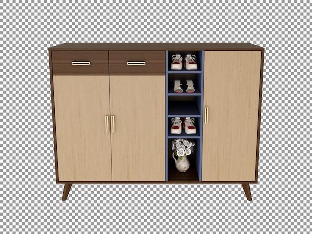 Rendu 3d de l'intérieur du bureau du salon en bois isolé