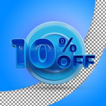 Rendu 3d isolé 10 pour cent rendu 3d réaliste produit offert