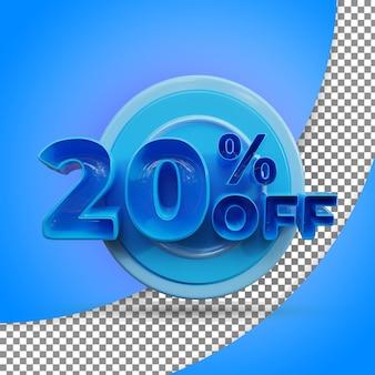 Rendu 3d isolé 20 % rendu 3d réaliste produit offert