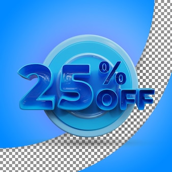 Rendu 3d isolé 25 % rendu 3d réaliste produit offert
