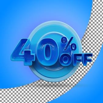 Rendu 3d isolé 40 % rendu 3d réaliste produit offert