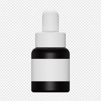 Rendu 3d isolé de la bouteille de sérum avec l'icône de la pompe psd