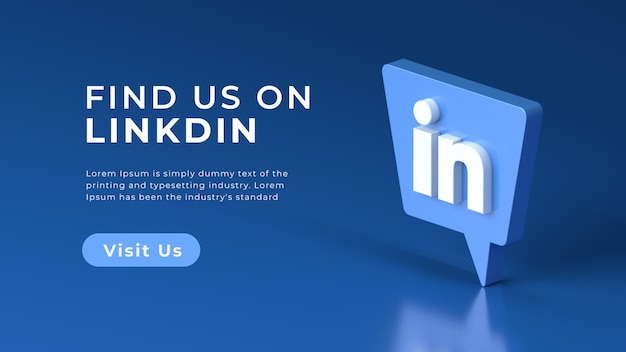 Rendu 3d isolé concept web linkedin