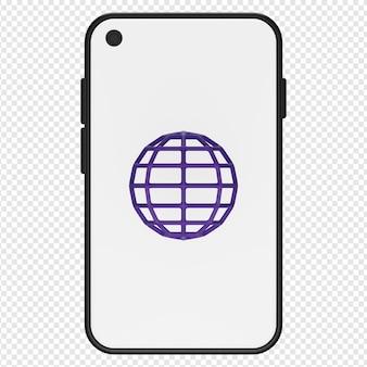 Rendu 3d isolé du navigateur web dans l'icône du smartphone psd