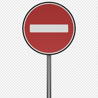 Rendu 3d isolé de l'icône d'arrêt de panneau de signalisation psd