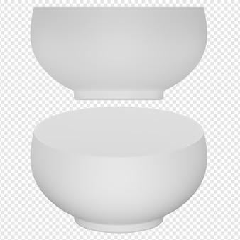 Rendu 3d isolé de l'icône de bol blanc psd