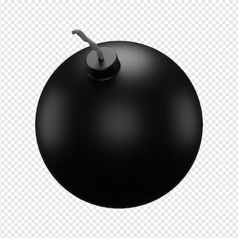 Rendu 3d isolé de l'icône de la bombe psd