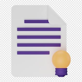 Rendu 3d isolé de l'icône concept idée psd
