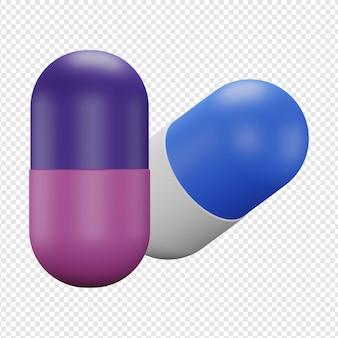 Rendu 3d isolé de l'icône de deux capsules psd