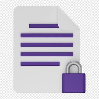 Rendu 3d isolé de l'icône de document sécurisé psd