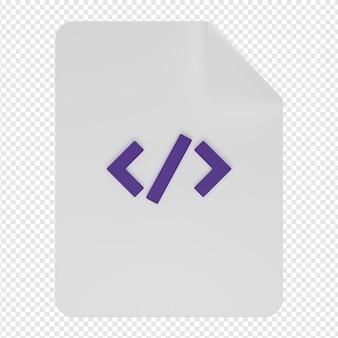 Rendu 3d isolé de l'icône du document de codage psd