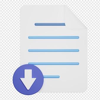 Rendu 3d isolé de l'icône du document de téléchargement
