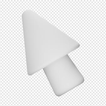 Rendu 3d isolé de l'icône du pointeur